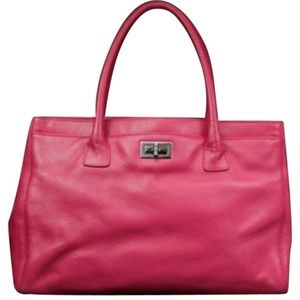 Chanel Cerf Dark Caviar 209409 Pink Leather Tote